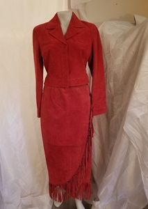 Womens Suade Leather Suit Western 8 Red Fringe